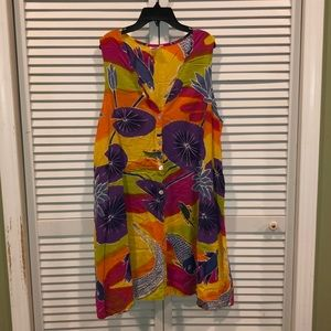 Vtg 90s Colorful Hawaiian Dress Button Up OS